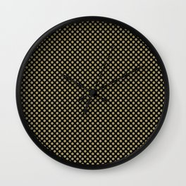 Black and Khaki Polka Dots Wall Clock