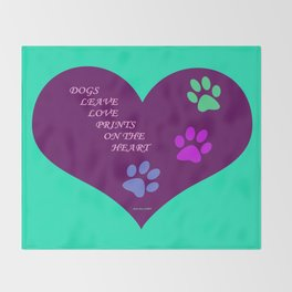 Dogs Leave Love Prints On The Heart By Annie Zeno  Throw Blanket