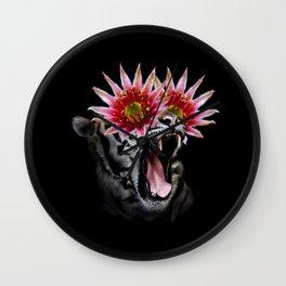 Shocked Tiger Collage (Black) Wall Clock