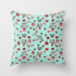 Schnauzer valentines day cupcakes love hearts schnauzers must have pure breed lovers Throw Pillow