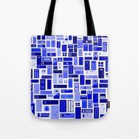 doors Tote Bags featuring Doors - Blues by Finlay McNevin