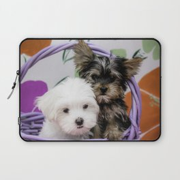 Maltese Puppy and a Yorkshire Terrier Puppy Cuddling in a Purple Basket with Flower Background Laptop Sleeve