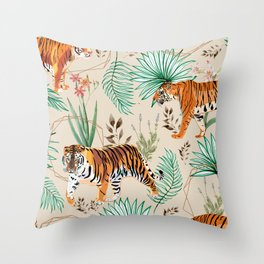 Tropical & Tigers Throw Pillow