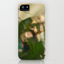 [14] Blurred woman and man behind plants, dancers, romance, forest, palms iPhone Case