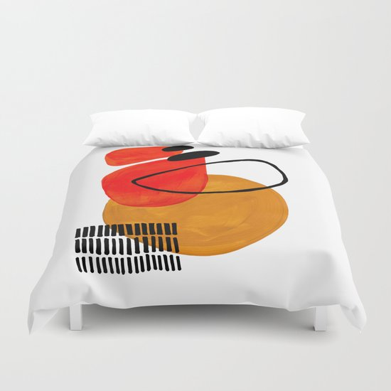 Mid Century Modern Abstract Vintage Pop Art Space Age Pattern Orange Yellow Black Orbit Accent by enshape