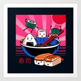 Sushi Retro Fun Art Print