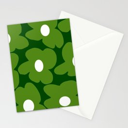 Spring Green Retro Flowers Dark Green Background #decor #society6 #buyart Stationery Cards
