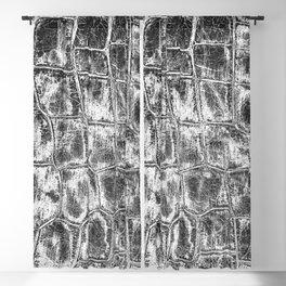Alligator Skin // Black and White Worn Textured Pattern Animal Print Blackout Curtain