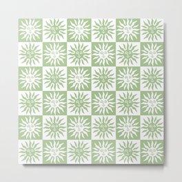 Mid Century Modern Sun Pattern Sage Green Metal Print