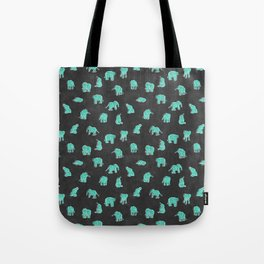 Indian Baby Elephants Black/Mint Tote Bag