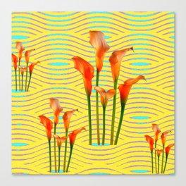 Yellow Modern Art Golden Calla Lilies Canvas Print