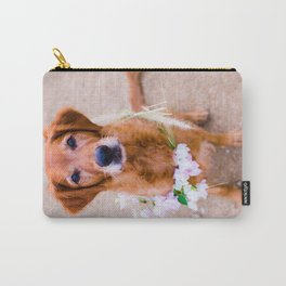 Goldie Locks, Golden Retriever with Flower Crown Carry-All Pouch
