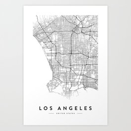 LOS ANGELES MAP Art Print
