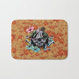 The Skull the Flowers and the Snail CoLoR Bath Mat
