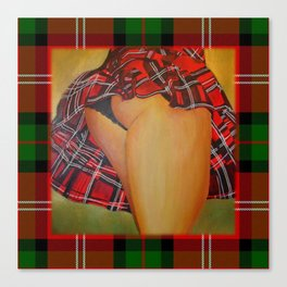 Young Girl Flirting Tease Me in Tartan With Border Canvas Print