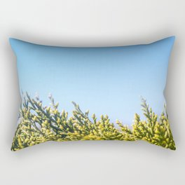 Blue sky copy space square background with coniferous fir tree Rectangular Pillow