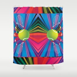 Tennis ball with rackets Shower Curtain