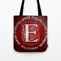Joshua 24:15 - (Silver on Red) Monogram E Tote Bag