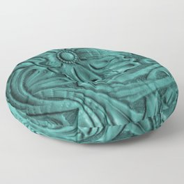 Teal Flower Tooled Leather Floor Pillow