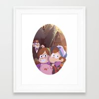 gravity falls Framed Art Prints featuring gravity falls by Tae V