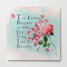 Future- Quote with Rose Flower- Floral Collage and Wisdom on turquoise background Metal Print