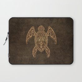 Intricate Vintage and Cracked Sea Turtle Laptop Sleeve