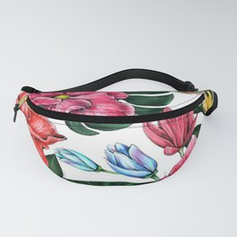 Tropical Flower and Leaves Fanny Pack