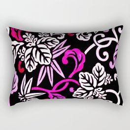 Fuchsia Pink Japanese Floral Pattern Rectangular Pillow