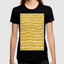 Knitting pattern - white on ochre T-shirt