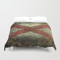 alabama Duvet Covers featuring Alabama state flag by Bruce Stanfield