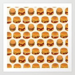Burger Pattern Fast Food Burger Lovers Art Print