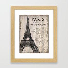 Vintage Travel Poster Paris Framed Art Print