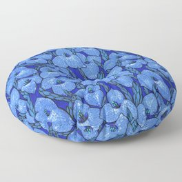 Cornflower Blue Puya Flowers Botanical Floral Pattern Floor Pillow