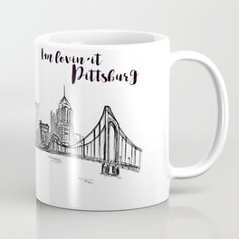 Ink Sketch Pittsburgh Skyline Coffee Mug