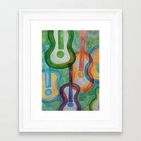 tye dye Framed Art Prints featuring Tye Dye Guitars by Ashley Grebe
