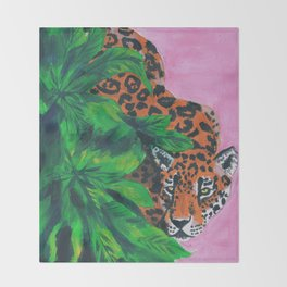 Jungle cat Throw Blanket
