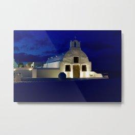 Santorini Chapel During Sunrise  Metal Print