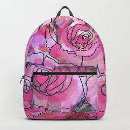 Pink Watercolor Roses Backpack