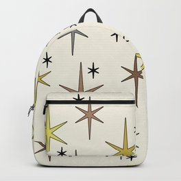 Mid Century Modern Star Sky Yellow Brown Gray Backpack