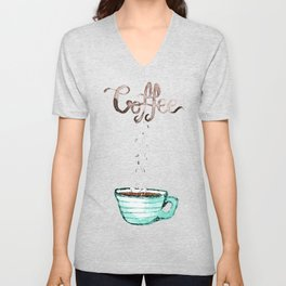 Cute Watercolor Steamy Cup of Coffee Unisex V-Neck