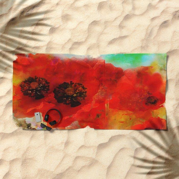 Champ de coquelicots Beach Towel