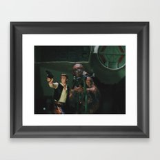 Hokey religions and ancient weapons are no match for a good blaster at your side Framed Art Print
