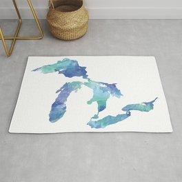 Great Lakes Watercolor Map Art Rug