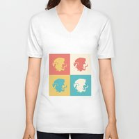 merlin V-neck T-shirts featuring Multicolor Pendragon, Merlin by carolam