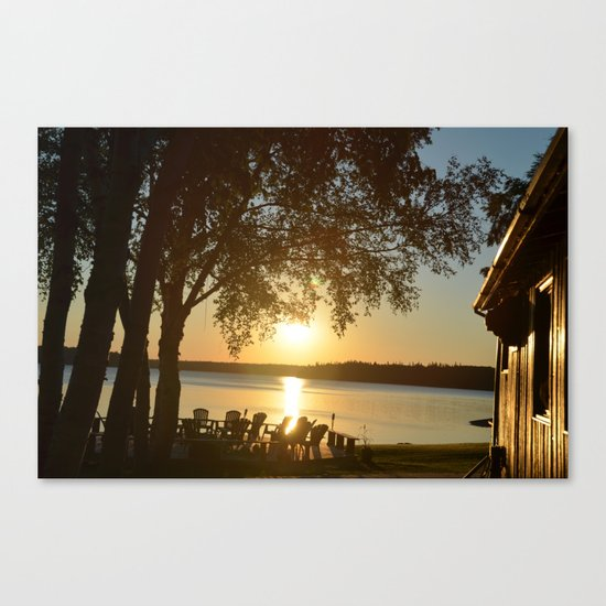 Sun Rise Lodge Reflection Canvas Print