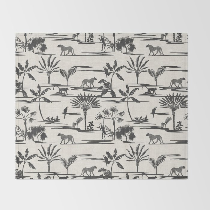 JUNGLE THRIVE BLACK Throw Blanket