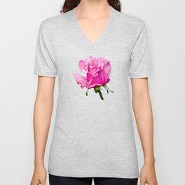 Romantic Pink Rosebud Unisex V-Neck