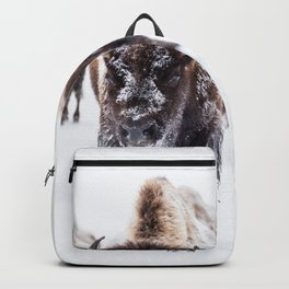 Bison Herd Through The Snow Backpack