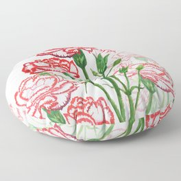 pink and red carnation watercolor painting Floor Pillow