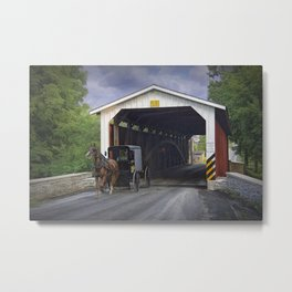 Amish Buggy with covered bridge Metal Print